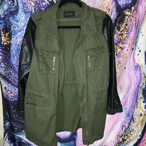 Nordstrom Rack military jacket leather sleeves.